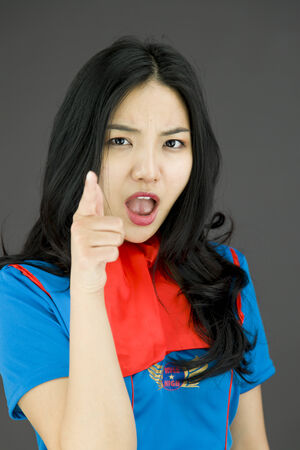 stewardess: Asian air stewardess scolding someone Stock Photo