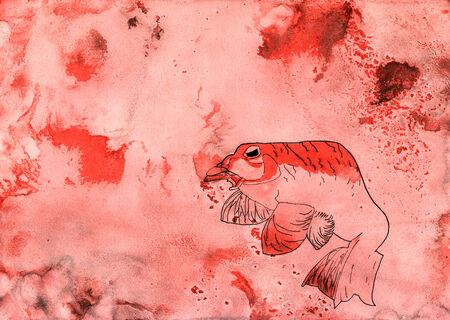 Illustration d'un poisson en mer rouge Banque d'images - 28679855