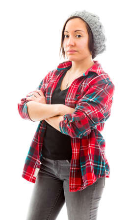 fully unbuttoned: Young woman standing with her arms crossed Stock Photo