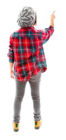 Young woman using imagery virtual screen photo