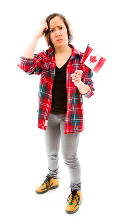 Confused woman with holding Canada flag photo