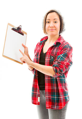 fully unbuttoned: Young woman showing clipboard