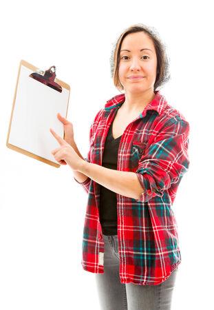 one sheet: Young woman showing clipboard