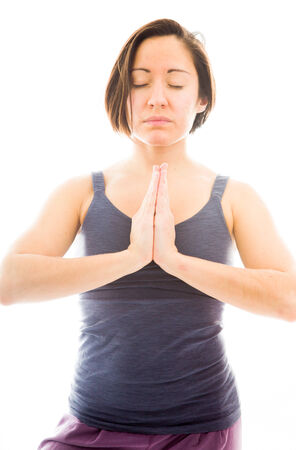 body concern: Young woman meditating Stock Photo