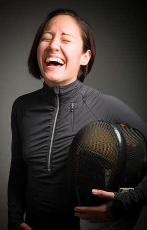 esgrimista: Tirador mujer riendo