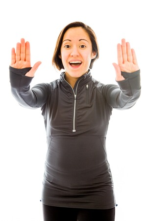 Young woman making stop gesture photo