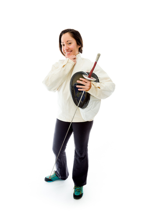 Female fencer smiling with her hand on chin photo