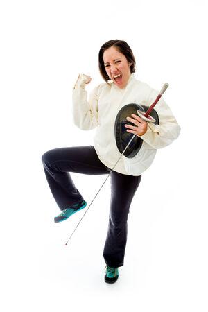 esgrimista: Esgrimista Mujer celebrar el �xito Foto de archivo