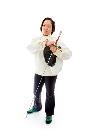 Female fencer making time out signal with hands Stok Fotoğraf