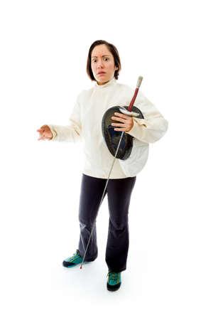 fencer: Female fencer looking scared