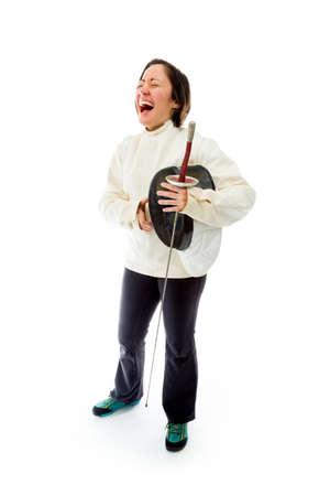 fencer: Female fencer laughing Stock Photo
