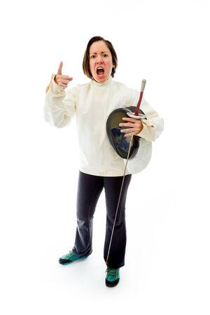 fencer: Female fencer scolding