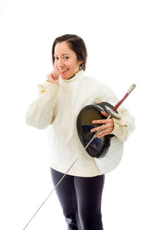 Female fencer biting nail with a holding mask and sword photo