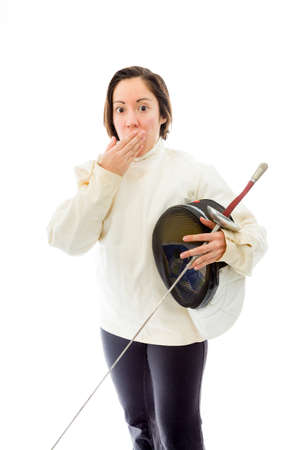 quarter foil: Female fencer hand over her mouth and shock Stock Photo