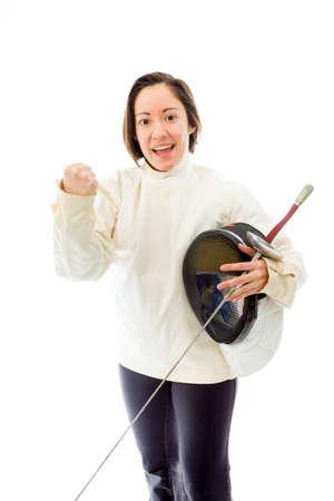 fencer: Female fencer celebrating success