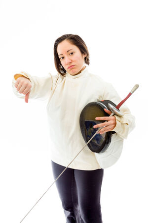 quarter foil: Female fencer showing thumbs down sign Stock Photo