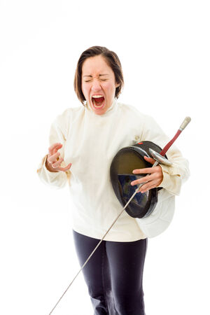 fencer: Female fencer looking frustrated Stock Photo