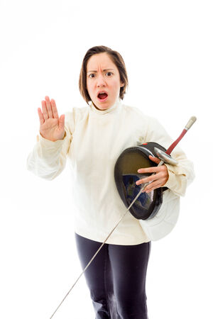 Female fencer making stop gesture sign Stock Photo