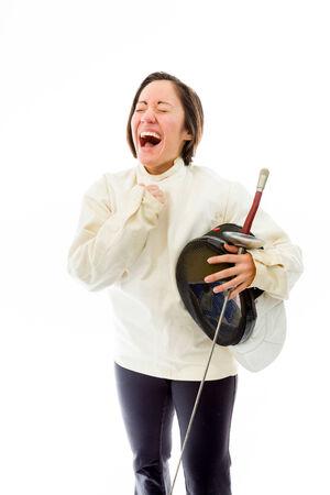 Female fencer celebrating success