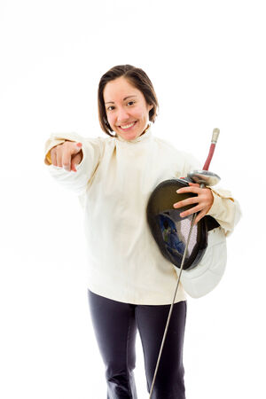 Female fencer pointing towards camera photo
