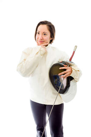 quarter foil: Female fencer thinking with her hand on chin