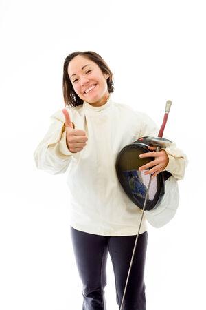 quarter foil: Female fencer showing thumbs up sign