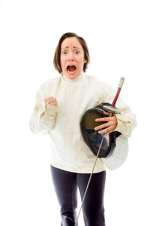 Female fencer looking scared