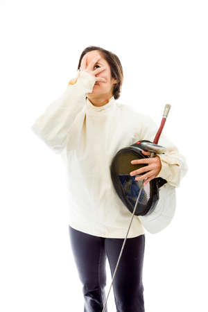 Female fencer looking depressed
