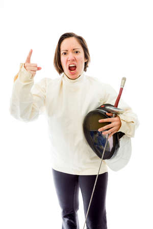 quarter foil: Female fencer scolding