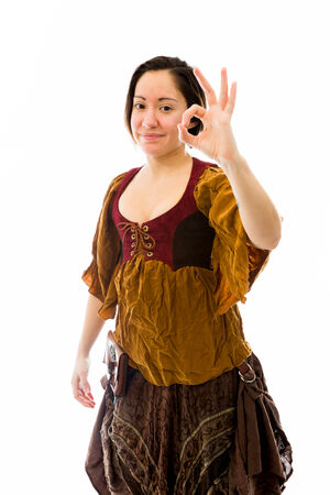 Young woman showing ok sign photo