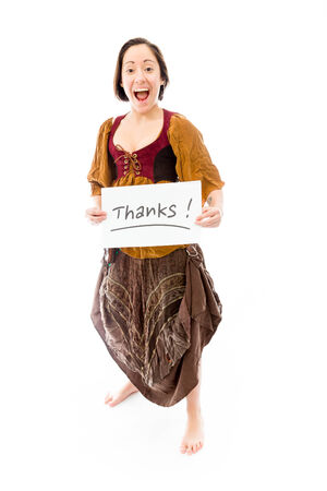 Young woman showing thanks sign on white background photo