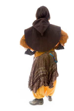 mani sui fianchi: Vista posteriore di una giovane donna in piedi con le braccia sui fianchi Archivio Fotografico
