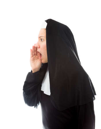 Young nun whispering photo