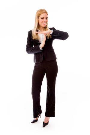 timeout: Businesswoman showing timeout gesture