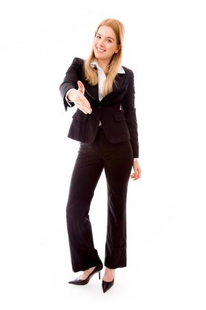 Businesswoman offering hand for handshake photo