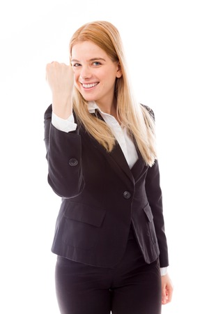 Businesswoman punching the air photo