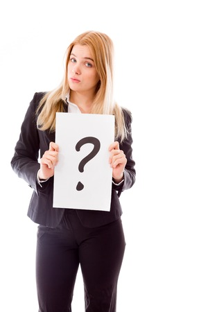 Businesswoman holding question mark sign photo