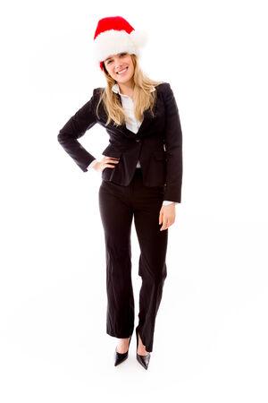 wearing santa hat: Portrait of a businesswoman wearing Santa hat