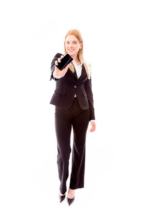 Businesswoman showing a smart phone photo