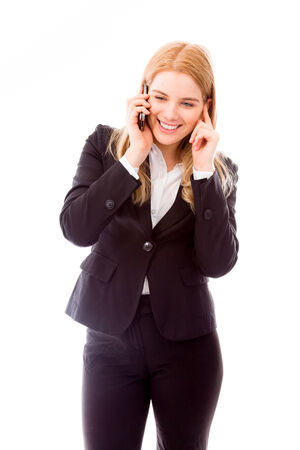 three persons only: Businesswoman talking on mobile phone