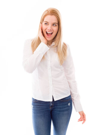 young woman looking excited