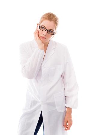 Female scientist looking worried photo