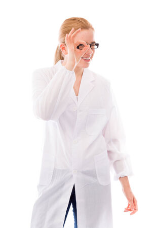 Female scientist looking through fingers hole photo