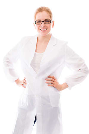 arms akimbo: Female scientist smiling with her arms akimbo Stock Photo