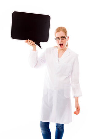 Female scientist holding a speech bubble and shouting