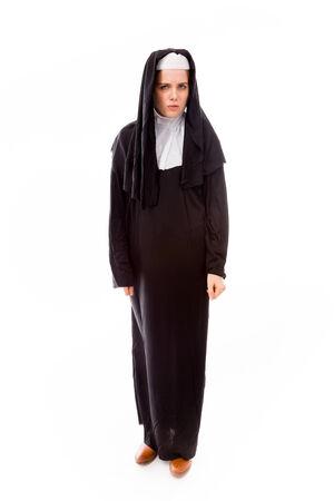 Young nun looking sad photo