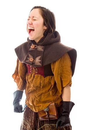 femme qui rit: Jeune femme en riant Banque d'images