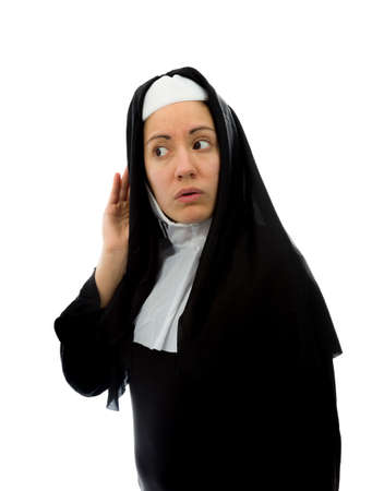 eavesdropper: Young nun trying to listen