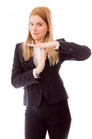 Zakenvrouw blijkt time-out teken met handen Stockfoto