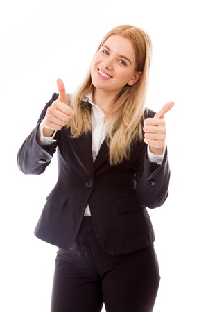 Zakenvrouw geven thumbs up te ondertekenen met beide handen Stockfoto